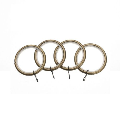 Universal 19mm Metal Curtain Rings (Pack of 4) - Antique Brass
